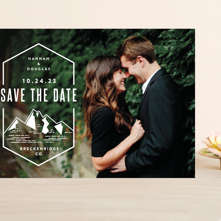 """Modern Rusticism"" - Grand Save The Date Cards in Snow by Jessica Ogden."