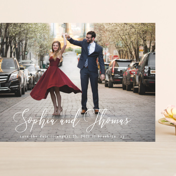 """""""Love in the Air"""" - Grand Save The Date Cards in Cloud by Kann Orasie."""