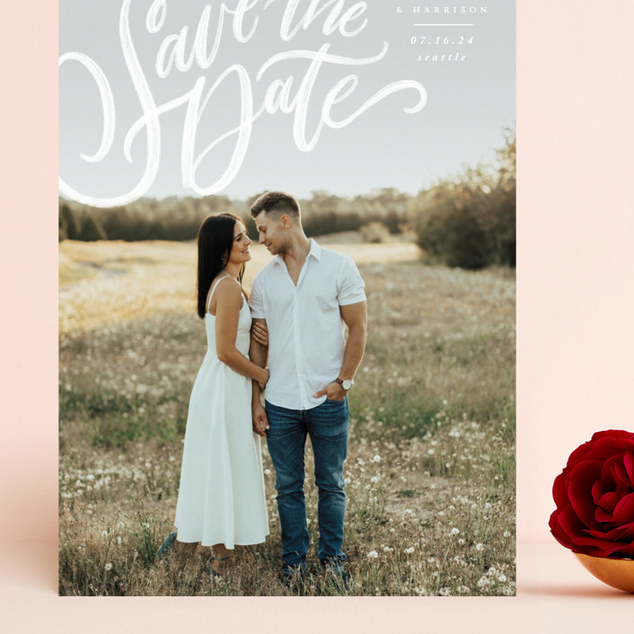 """Love Letters"" - Grand Save The Date Cards in Daisy by Wildfield Paper Co."