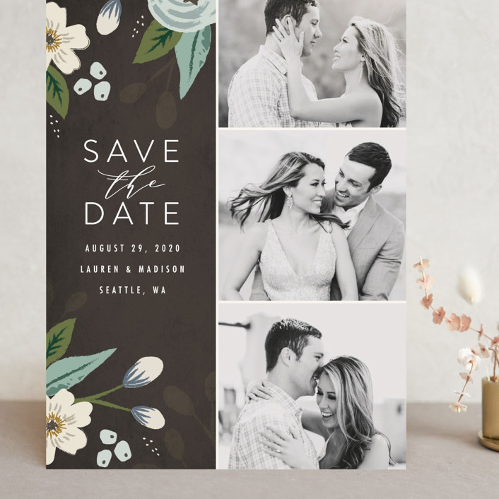"""""""Love in Bloom"""" - Grand Save The Date Cards in Blush by Karidy Walker."""