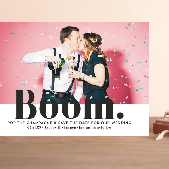 """""""BOOM Pop the Champagne"""" - Grand Save The Date Cards in Midnight by Erika Firm."""