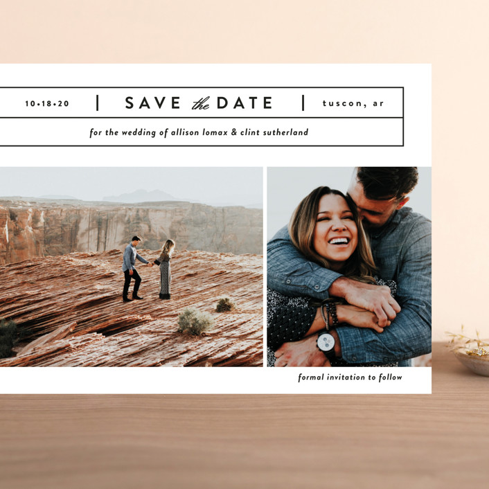 """""""Cinematic"""" - Grand Save The Date Cards in Dove by Jessica Ogden."""