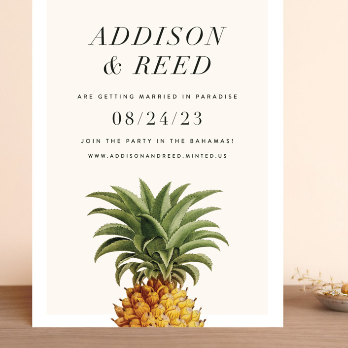 """""""Party in Paradise"""" - Grand Save The Date Cards in Pineapple by Fig and Cotton."""
