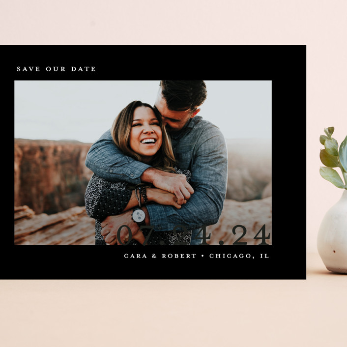 """Minimal Message"" - Grand Save The Date Cards in Cloud by Lindsay Megahed."
