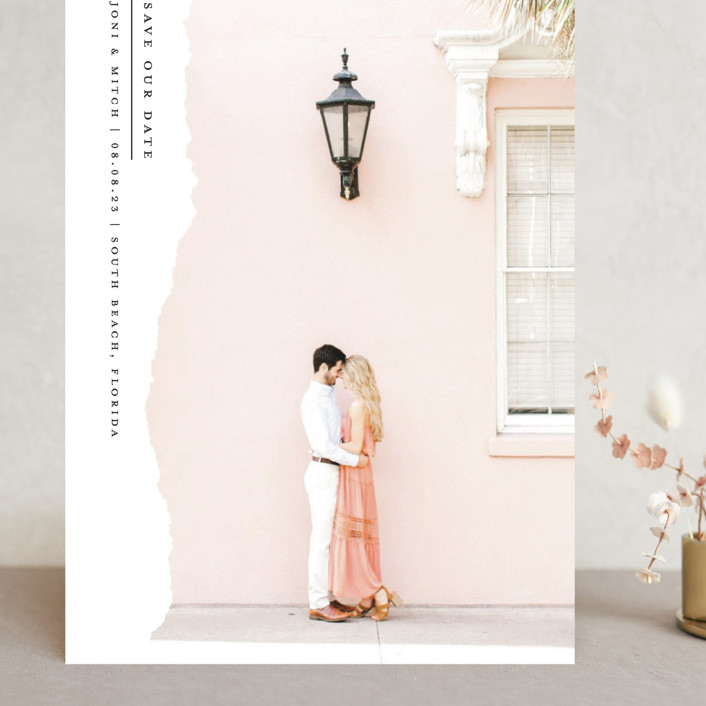 """""""Torn Edges"""" - Grand Save The Date Cards in Midnight by Laura Hamm."""
