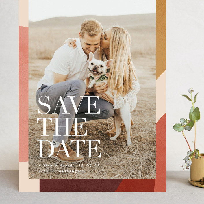 """Galeria"" - Grand Save The Date Cards in Autumn Desert by Kelly Schmidt."