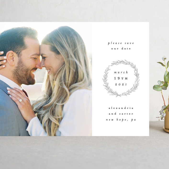 """Elegant Emblem"" - Grand Save The Date Cards in Dove by Everett Paper Goods."