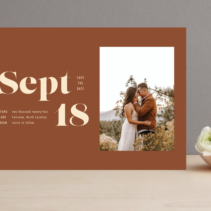 """""""Bold Print"""" - Grand Save The Date Cards in Rust by April Astudillo."""