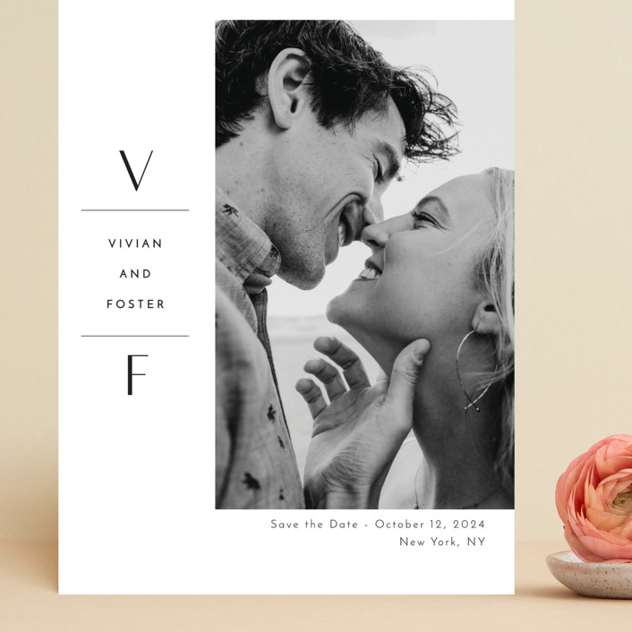 """Initial Attraction"" - Grand Save The Date Cards in Ebony by Kaydi Bishop."