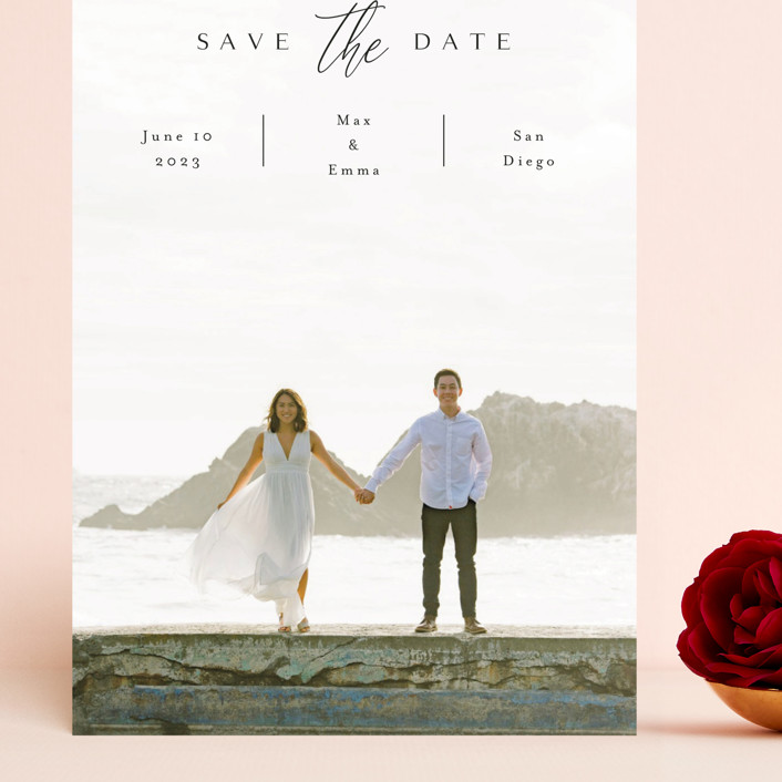 """the announcement"" - Grand Save The Date Cards in Onyx by Kasia Labocki."