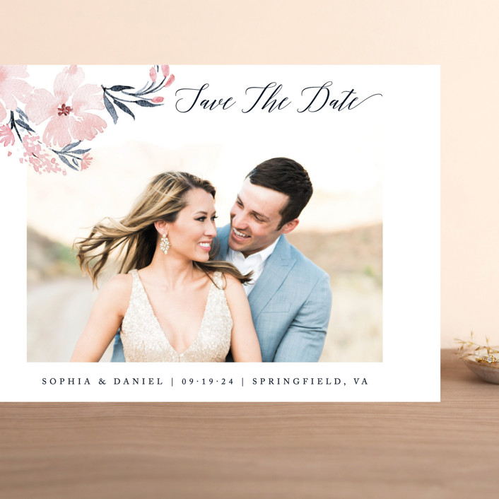 """""""beautifully painted"""" - Grand Save The Date Cards in Blush by Qing Ji."""