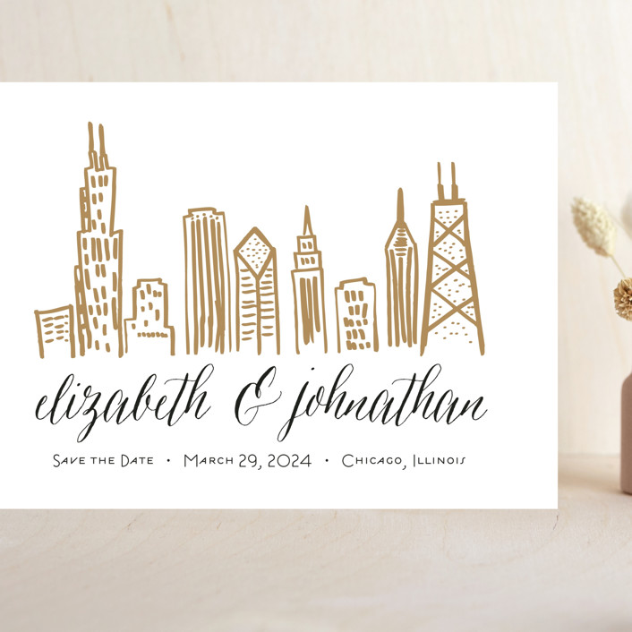 """""""Chicago Skyline"""" - Grand Save The Date Cards in Gold Coast by Abby Munn."""