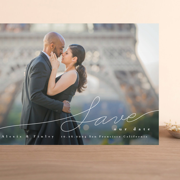 """""""Contemporary Script"""" - Grand Save The Date Cards in Silk by Four Wet Feet Studio."""