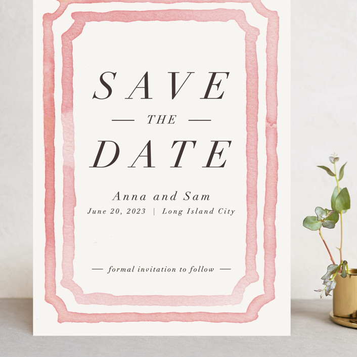 """Watercolor Frame"" - Bohemian Grand Save The Date Cards in Coral by Laura Condouris."