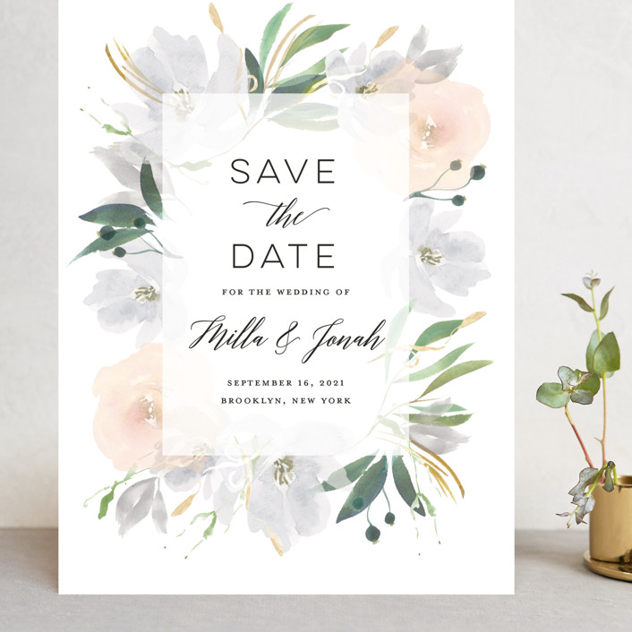 """Grande Botanique"" - Grand Save The Date Cards in Mist by Bonjour Paper."