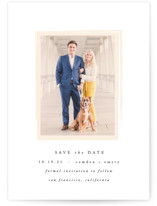 This is a pink save the date by carly reed walker called Display with standard printing on smooth signature in grand.