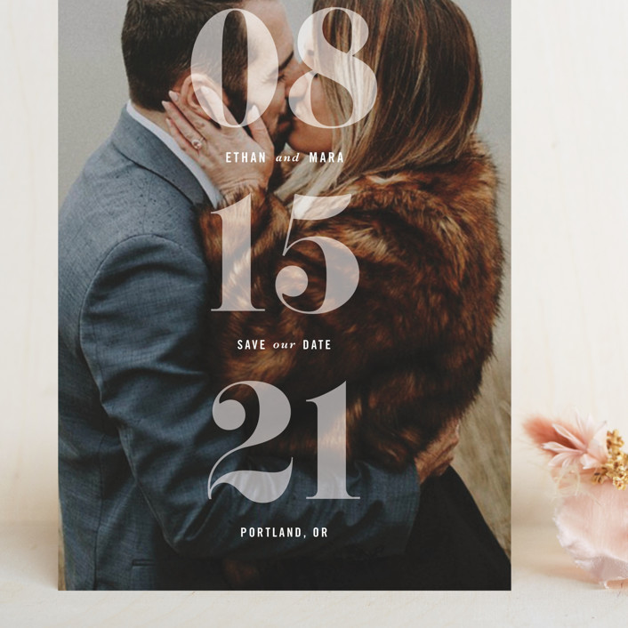 """All About that Date"" - Grand Save The Date Cards in Opal by Hooray Creative."