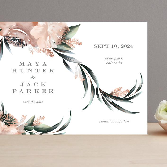 """Maya Rustica"" - Grand Save The Date Cards in Rose by Petra Kern."