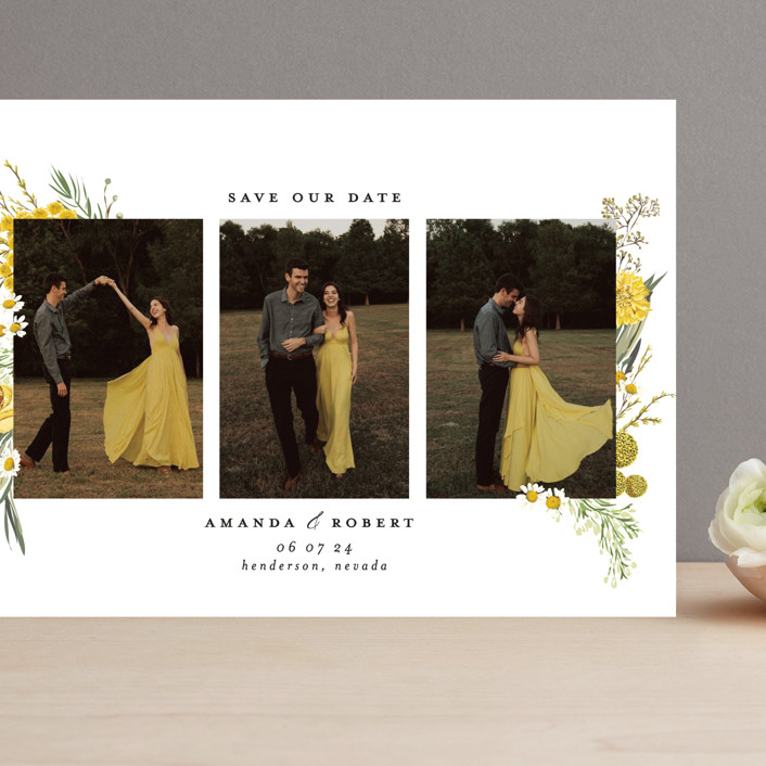 """""""Organic Florals"""" - Grand Save The Date Cards in Honey by Susan Moyal."""