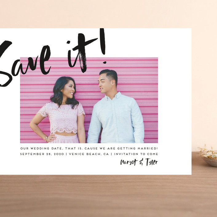 """Huge day"" - Modern Grand Save The Date Cards in Tuxedo by Simona Camp."