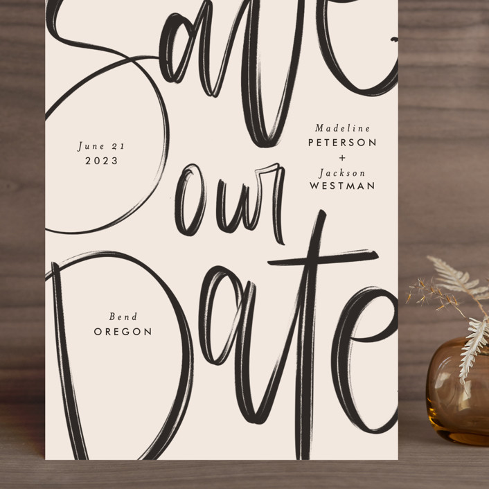 """Off the Page"" - Grand Save The Date Cards in Petal by Amy Payne."