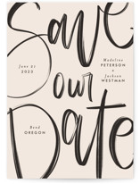 This is a pink save the date by Amy Payne called Off the Page with standard printing on signature in grand.