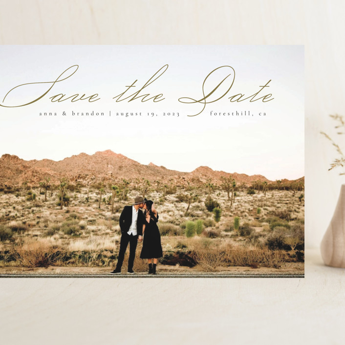 """Heavenly"" - Grand Save The Date Cards in Moss by Kann Orasie."