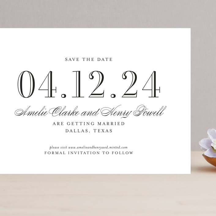 """""""Hepburn"""" - Grand Save The Date Cards in Tuxedo by Toast & Laurel."""
