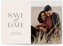 This is a beige save the date by Jessica Williams called Effortless with standard printing on smooth signature in grand.
