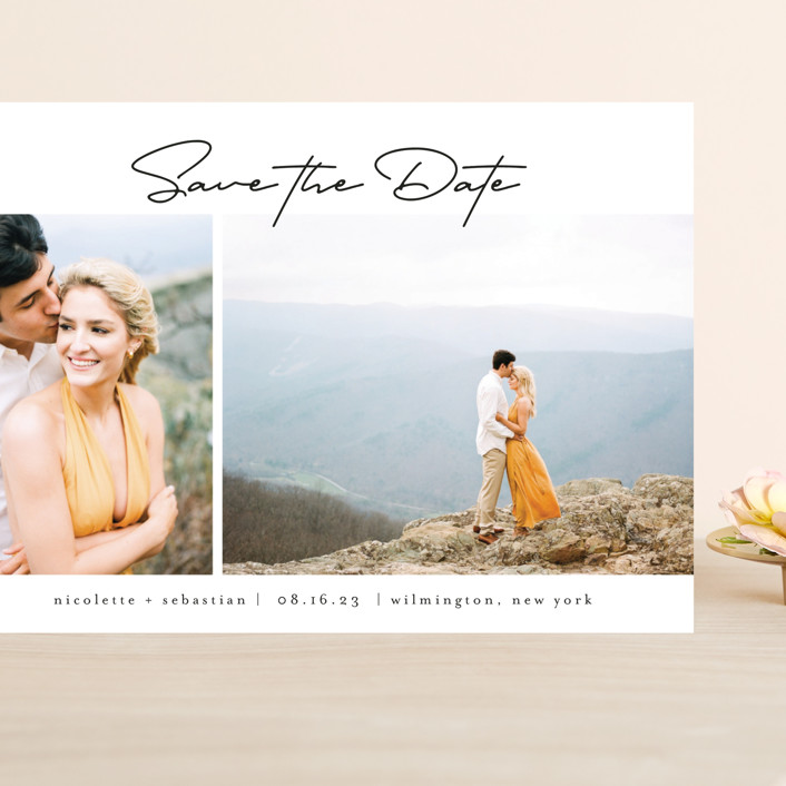 """""""Minimal Duo"""" - Grand Save The Date Cards in Obsidian by Calluna Fine Paper."""
