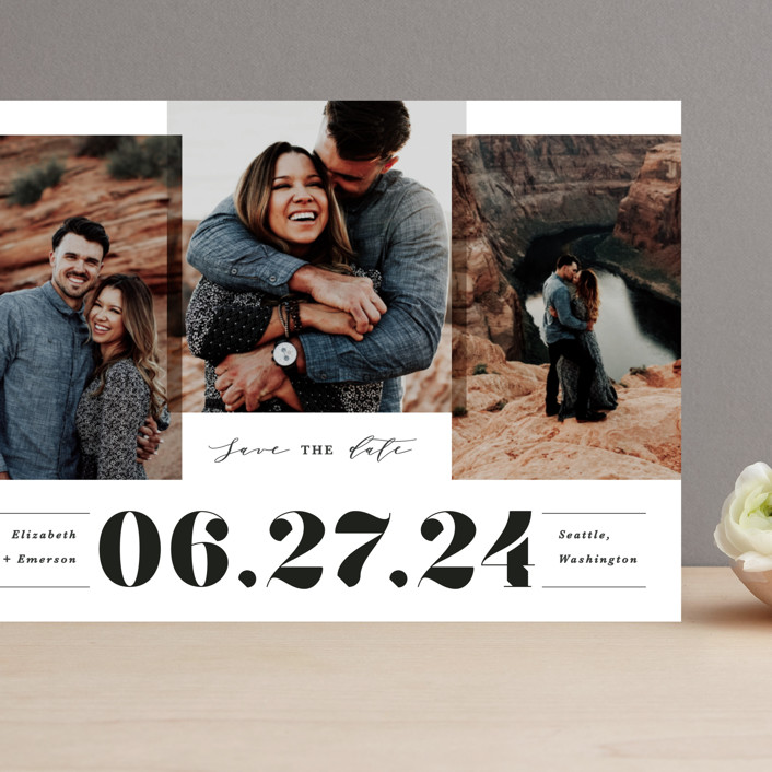 """""""Bold trio"""" - Bold typographic Grand Save The Date Cards in Ivory by Creo Study."""