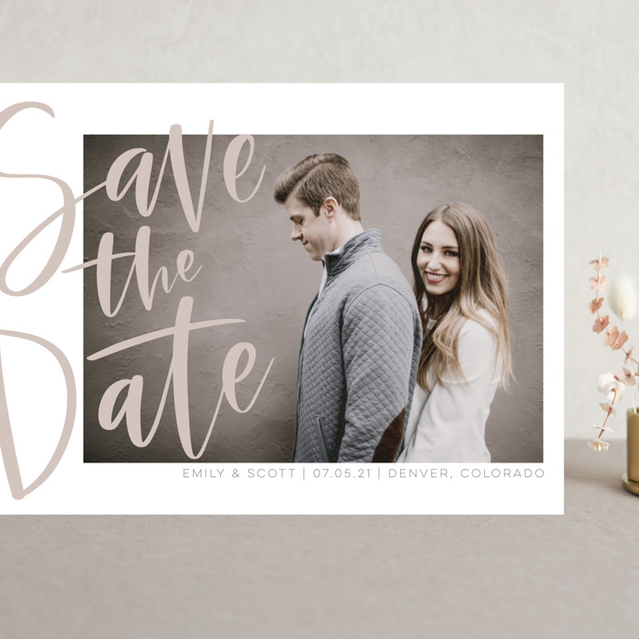 """Simple Love"" - Grand Save The Date Cards in Tan by Alicia Schultz."