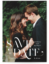 This is a white save the date by Lauren Chism called Stacked Serif with standard printing on signature in grand.