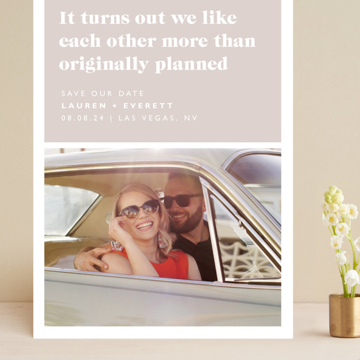 """""""Original Plan"""" - Funny Grand Save The Date Cards in Nude by Caitlin Considine."""