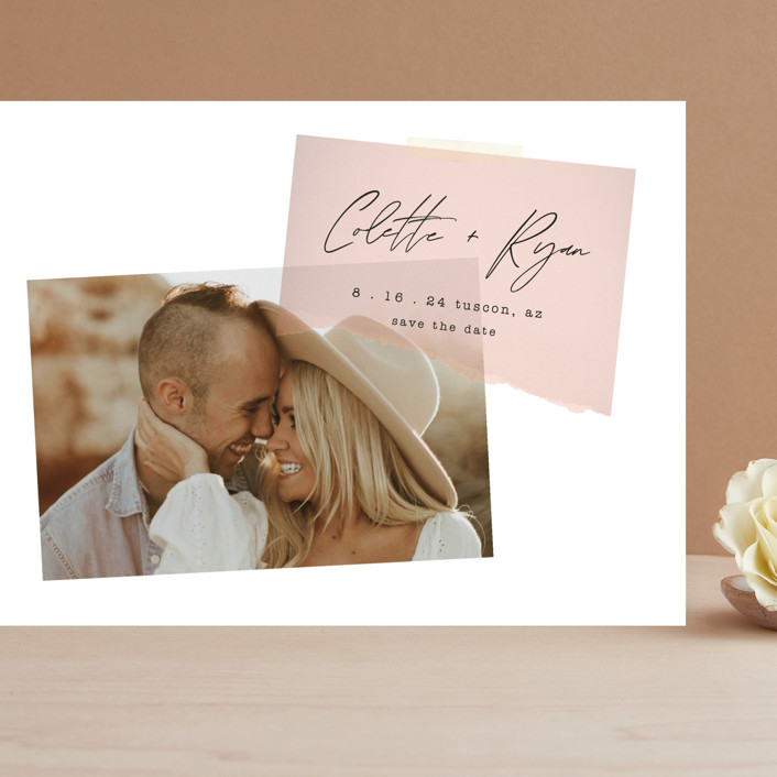 """Keepsake"" - Modern Grand Save The Date Cards in Blush by Morgan Kendall."