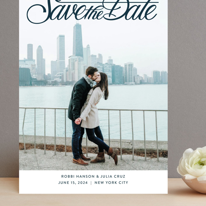 """""""Lettering Crossbar"""" - Grand Save The Date Cards in Midnight by Jill Means."""