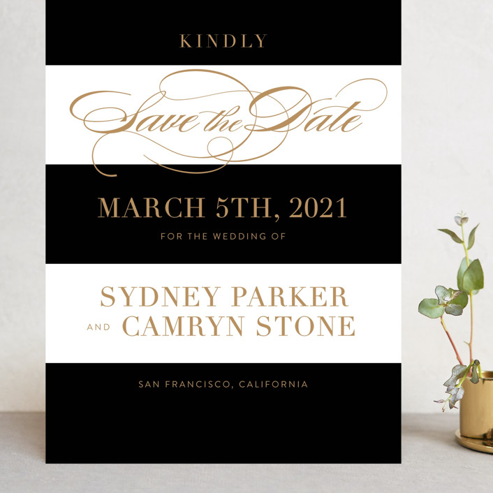 """Fashion District"" - Grand Save The Date Cards in Black Tie by Jill Means."