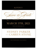 This is a black save the date by Jill Means called Fashion District with standard printing on signature in grand.