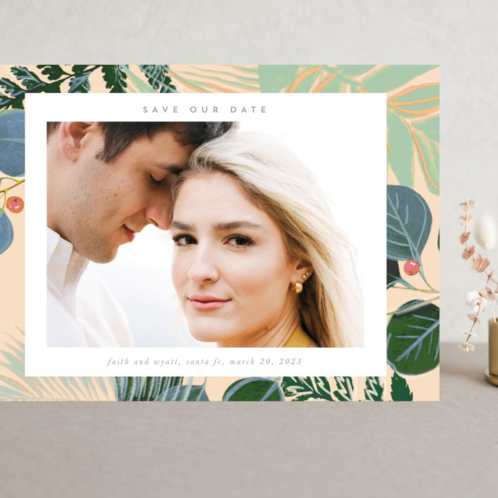 """""""Bold Floral"""" - Grand Save The Date Cards in Buttercream by Baumbirdy."""