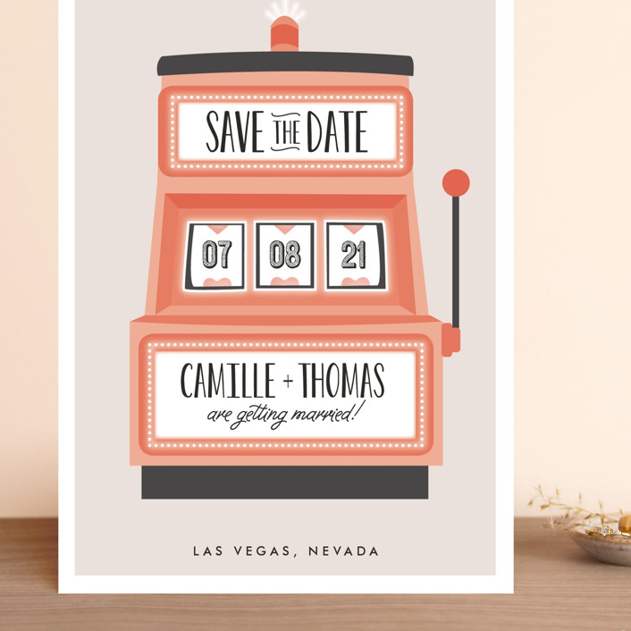 """Lucky in Love"" - Grand Save The Date Cards in Peach by Erica Krystek."