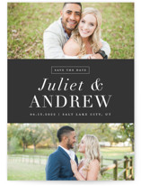 This is a black and white save the date by Stacey Meacham called New Modern with standard printing on smooth signature in grand.