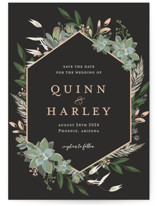 This is a black save the date by Susan Moyal called Succulent Surround with standard printing on signature in grand.