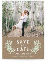 This is a green save the date by Alethea and Ruth called Ampersand Floral with standard printing on smooth signature in grand.