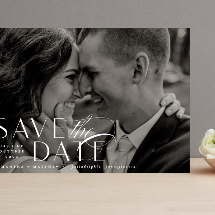 """Swoop"" - Grand Save The Date Cards in Pearl by Everett Paper Goods."