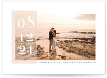 This is a pink save the date by Angela Garrick called Summer with standard printing on smooth signature in grand.
