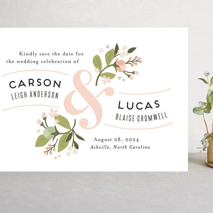 """Floral Ampersand"" - Grand Save The Date Cards in Rosebud by Jennifer Wick."