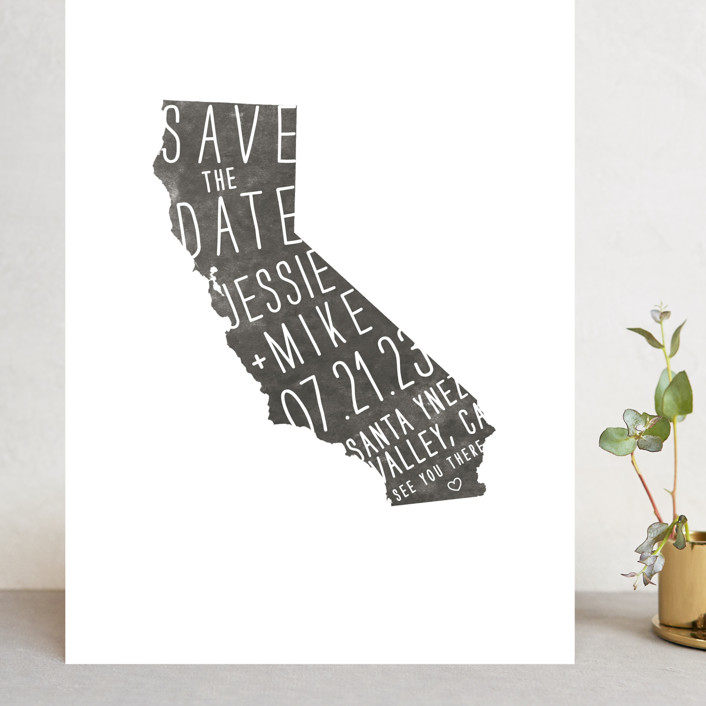 """""""State Stamp - California"""" - Grand Save The Date Cards in Smoke by Fig and Cotton."""