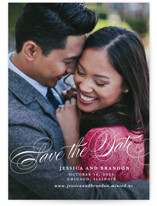 This is a white save the date by Lauren Chism called Style with standard printing on smooth signature in grand.