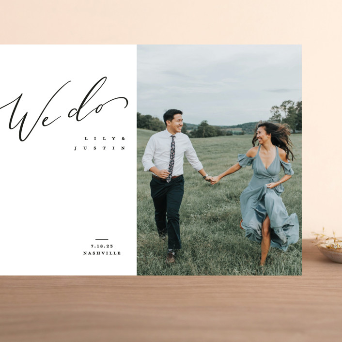 """""""Graceful"""" - Grand Save The Date Cards in Lily by Owl and Toad."""