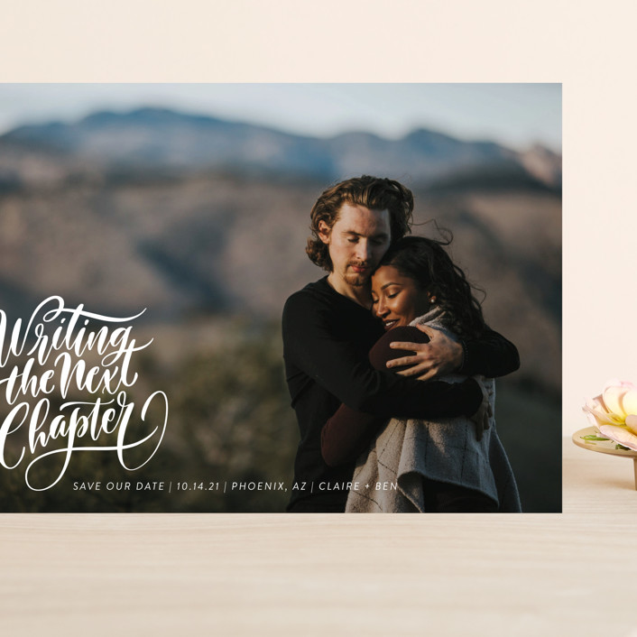 """""""The Next Chapter"""" - Modern Grand Save The Date Cards in Pearl by Laura Bolter Design."""